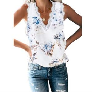 Tops - Floral Lace Trim Sleeveless Top